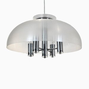 Chrome and Lucite Dome Pendant Lamp from Doria