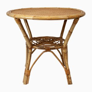 Vintage Round Bamboo Coffee Table, 1970s