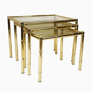 Brass Plated Bamboo Nesting Tables with Smoked Glass, 1970s, Set of 3
