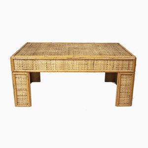 Vintage Bamboo and Rattan Coffee Table, 1970s