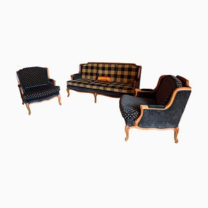 Mid-Century Sofa and Armchairs, Set of 3