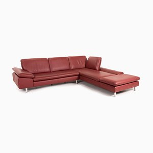 Loop Red Leather Corner Sofa by Willi Schillig
