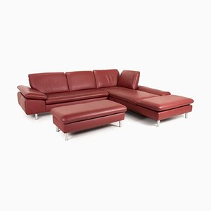 Loop Red Leather Sofa Set by Willi Schillig, Set of 2