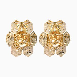 Faceted Crystal and Gilt Sconces from Bakalowits & Söhne, Germany, Set of 2