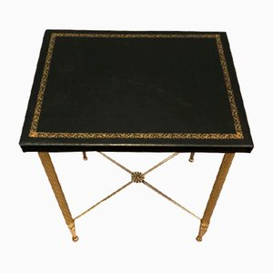 Small Brass and Gold-Trimmed Leather Side Table, France, 1940s
