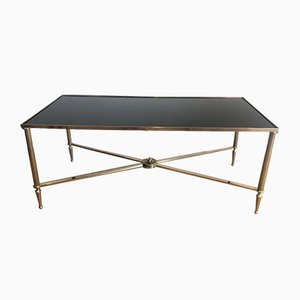 Neoclassical Style Brass Coffee Table with Black Lacquered Glass Top, France, 1940s