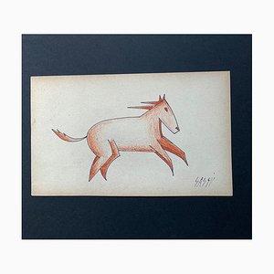 Aligi Sassu, Futurist Horse, Pastel and China, 1925