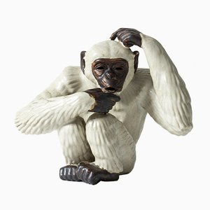 Stoneware Monkey Figurine by Gunnar Nylund for Rörstrand
