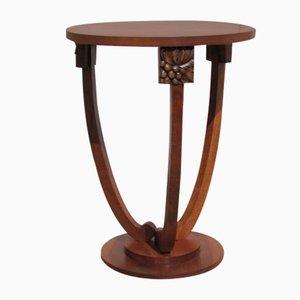 Art Deco Tripod Pedestal with Grape Decoration in Walnut