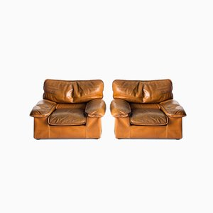 Vintage Chairs in Patinated Leather from Henry Sooner, France, 1980s, Set of 2