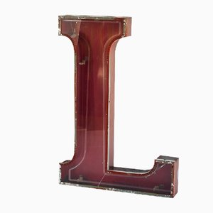 Large Vintage Letter L in Iron and Methacrylate, Spain, 1970s