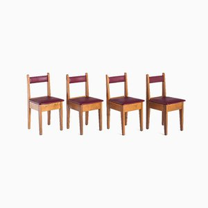 Vintage French Chairs in Oak & Imitation Leather, 1950s, Set of 4