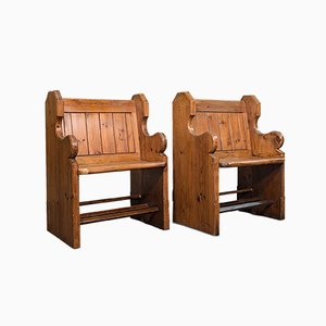 Antique Victorian English Hall Seats in Pine, Set of 2