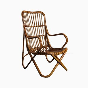 Bamboo Wicker Armchairs, 1960s, Set of 4