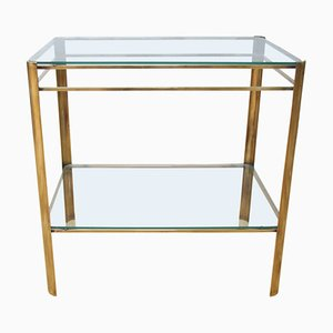 Brass and Glass Side Table by Jacques Quinet, 1960s