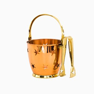 Ice Bucket with Ice Tongs in Copper and Brass and Internal Glass Cup, 1950s