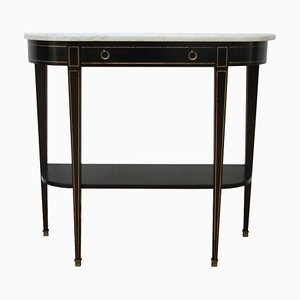 French Console Tables with White Marble Tops, 1950s, Set of 2