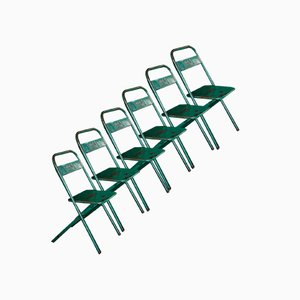 Folding Chairs in Green from Charrebourg, Set of 6
