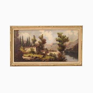 Italian Landscape Painting of Mountain Lake