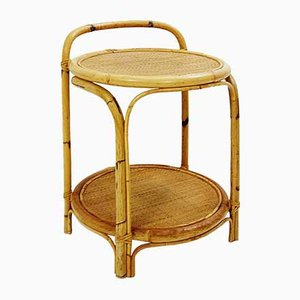 Bamboo and Cane Side Table, 1960s