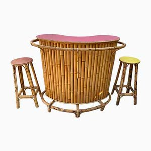 Vintage Bar Counter and 2 Stools in Bamboo and Rattan, 1960s or 1970s, Set of 3