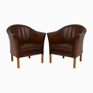 Danish Vintage Leather Armchairs by Mogens Hansen, Set of 2