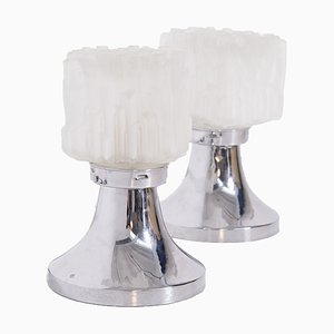 Table Lamps in Satin Glass and Chrome Metal by Gaetano Sciolari, Set of 2
