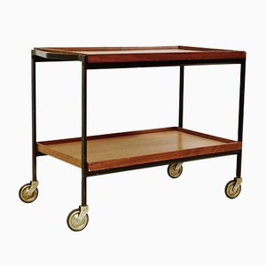 Italian Black Lacquered Metal and Teak Trolley, 1960s