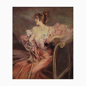 Angelo Granati, Donna sul Divano, Oil on Canvas