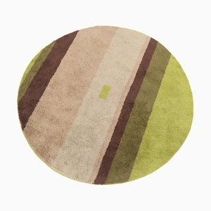 Round Green, Pink and Brown Carpet, 1960s