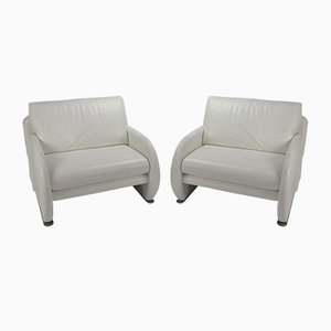 White Leather Lounge Chairs from Leolux, 1980s, Set of 2