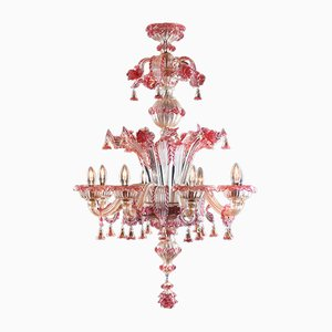 Gold Ruby & Murano Glass Chandelier