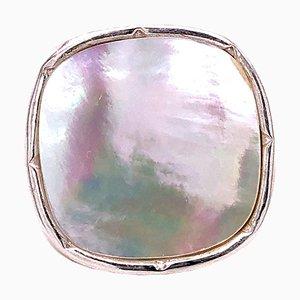 White Mother of Pearl Antik Cut Hand Engraved Sterling Silver Ring from Berca