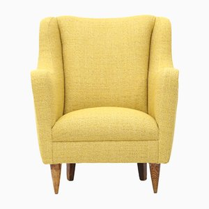 Armchair in Yellow Fabric, 1950s