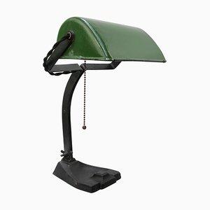 Vintage Industrial Green Enamel Bankers Table or Desk Lamp