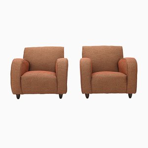 Armchairs in Brick-Colored Fabric, 1930s, Set of 2