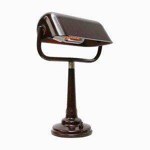 Vintage Industrial Brown Bakelite Bankers Table or Desk Lamp