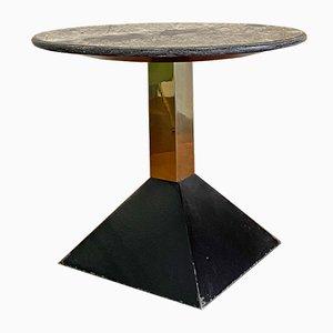 Italian Mid-Century Geometric Coffee Table with Granite Round Top, 1980s