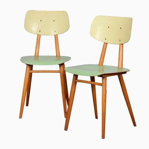 Green Chairs from Ton, 1960s, Set of 2