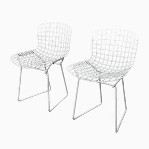 Small White Lacquered Metal Chairs by Harry Bertoia 1970s, Set of 2
