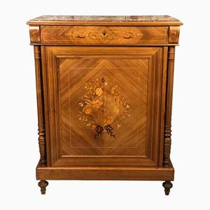 Napoleon III Style Support Marquetry Cabinet with Marble Top, 1900s