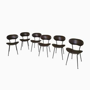 Italian Chairs in Brown Leather and Black Enameled Metal by Gastone Rinaldi, 1950s, Set of 6