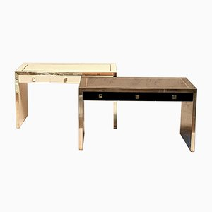 Lacquered Wood and Brass Office Desks by Jean Claude Mahey, 1970s, Set of 2