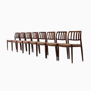 Rosewood Model 83 Dining Chairs by Niels Otto Møller for J. L. Møllers, Set of 8