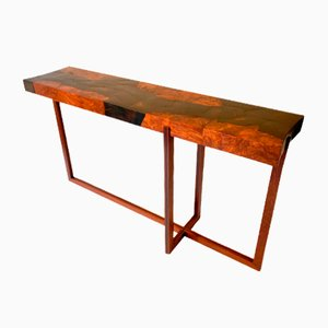 Fracture Console Table in Ebony Marquetry and Burr Amboyna by D.Driani