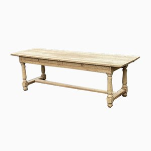 Large French Bleached Oak Farmhouse Dining Table with Extensions