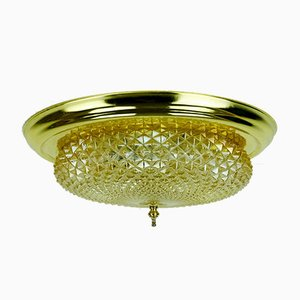 Mid-Century Plafoniere Amber Glass Structure Brass Ceiling Lamp, 1970s