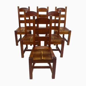 Brutalist Oak Dining Chairs, 1960s, Set of 6