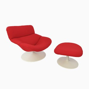 Model F518 Lounge Chair with Ottoman by Geoffrey Harcourt for Artifort, 1970s, Set of 2