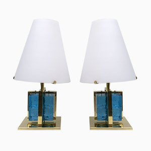 Murano Glass and Brass Table Lamps, Set of 2